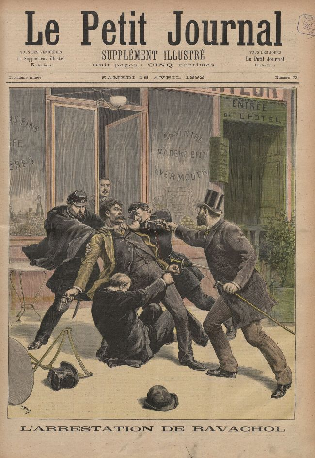 "Cover page of ""Le Petit Journal"" illustrating the arrest of French anarchist and assassin Ravachol"