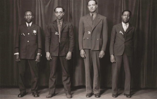Unknown (American) [Jeff Briggs, Robert Sims, Otis Hall, and Peter Pamphlet; Full-Length Mugshot from the Chicago Police Department] 1936