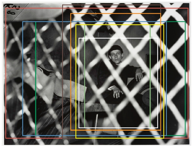 Weegee (Arthur Fellig) 'Frank Pape, Arrested for Strangling Boy to Death, New York' 1944 indicating cropping variants