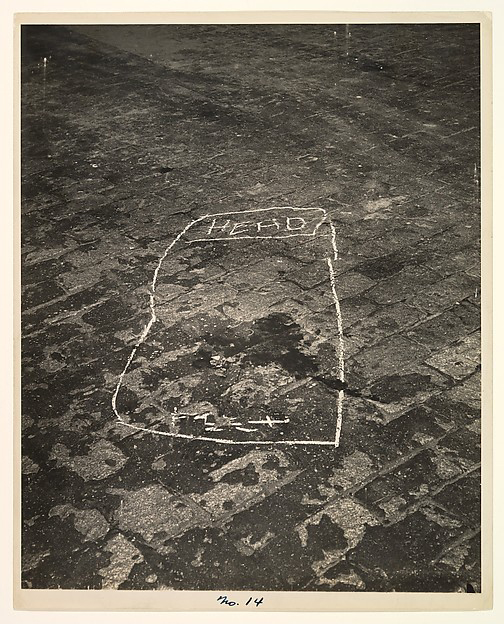 Weegee (American, born Ukraine (Austria), Złoczów (Zolochiv) 1899 - 1968 New York) '[Outline of a Murder Victim]' 1942