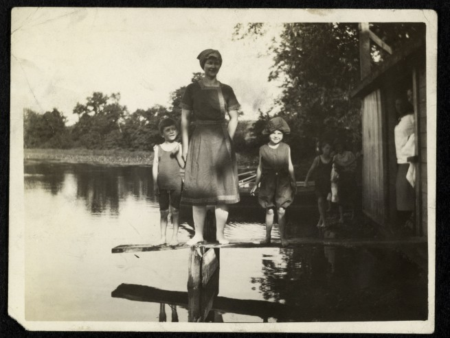 Unknown maker (American). 'Group at pond' c. 1910s