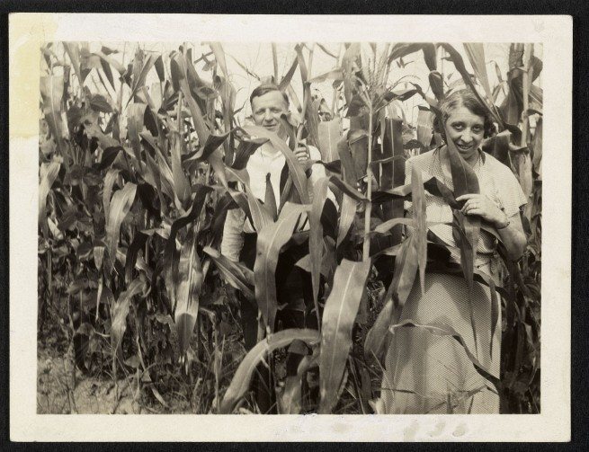 Unknown maker (American). 'Man and woman in corn' c. 1930s