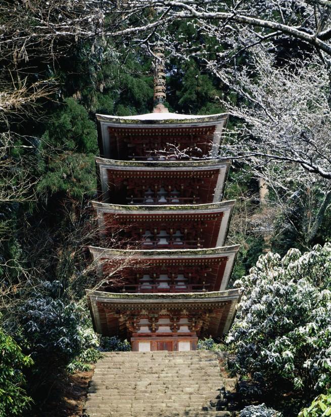 Ken Domon. 'Pagoda del Murōji con la neve [Pagoda Muroji with snow]' 1978
