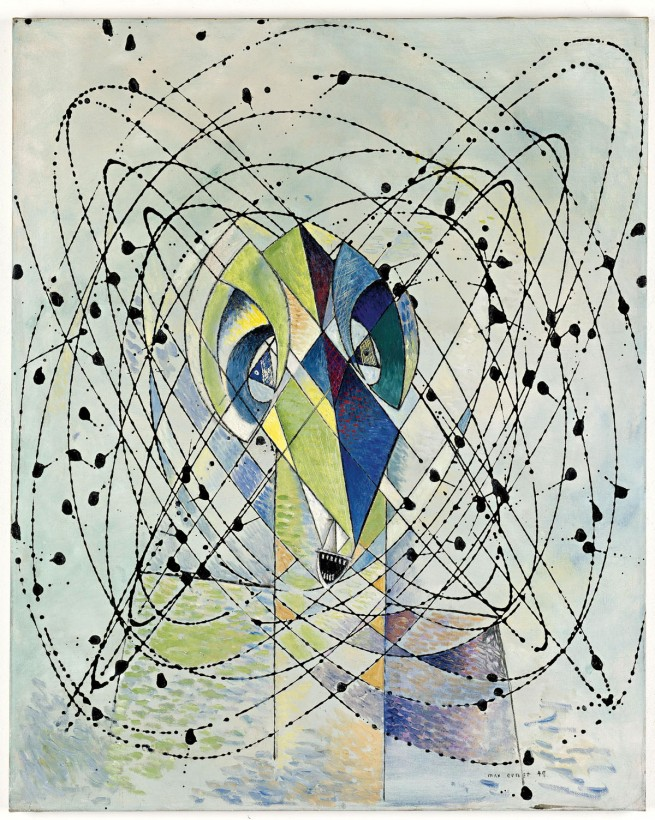 Max Ernst (1891–1976) 'Jeune homme intrigué par le vol d'une mouche non-euclidienne [Young Man Intrigued by the Flight of a Non-Euclidean Fly]' 1942–7