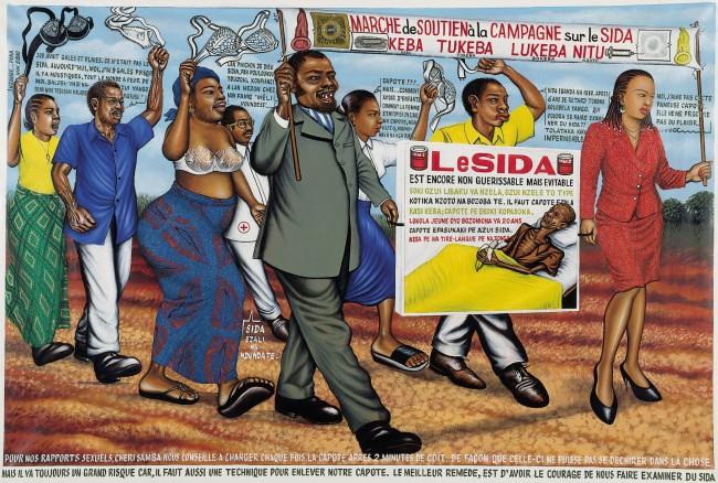 Chéri Samba. 'Marche de soutien à la campagne sur le SIDA' 1988