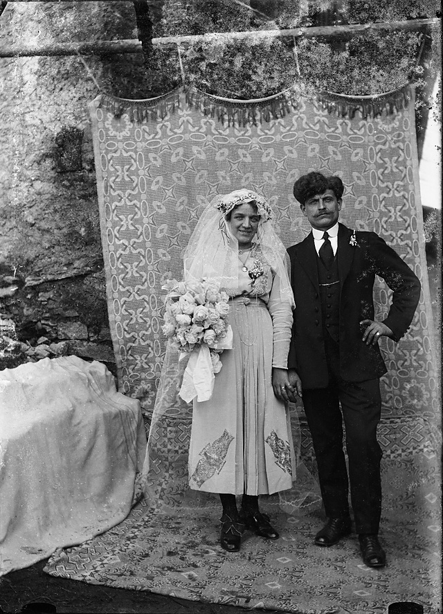 Roberto Donetta. 'A wedding couple staged in front of a cloth' Nd