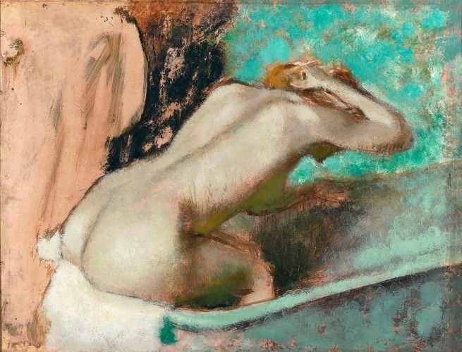 Edgar Degas. 'Woman seated on the edge of the bath sponging her neck' 1880-95