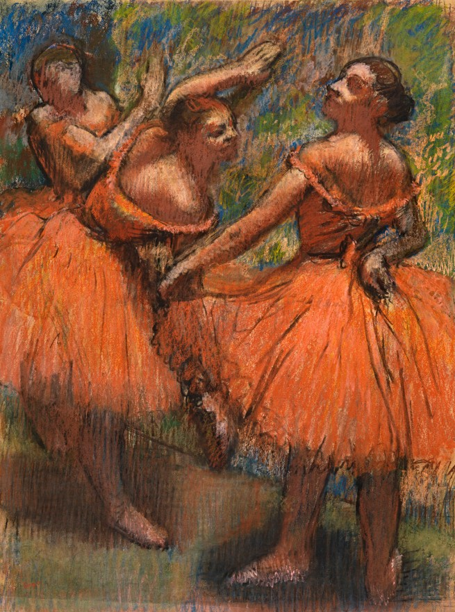Edgar Degas. 'Group of dancers (red skirts)' 1895-1900
