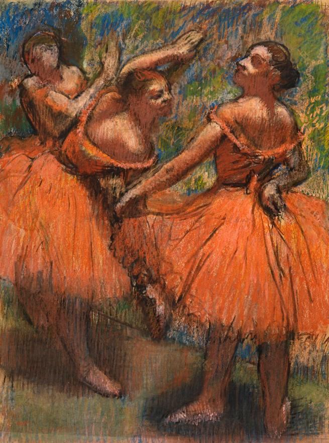 Edgar Degas. 'Group of dancers (red skirts)' 1895-1900