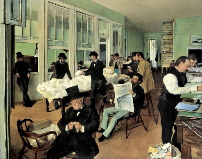 Edgar Degas. 'Un bureau de coton à la Nouvelle-Orléans [A cotton office in New Orleans]' 1873