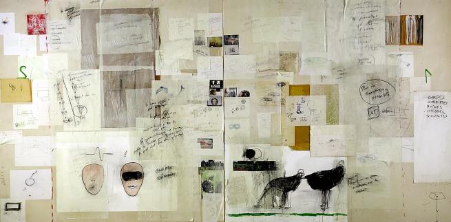 Fabrice Hyber. 'Peinture homéopathique n° 10 (Guerre désirée)' 1983 - 1996