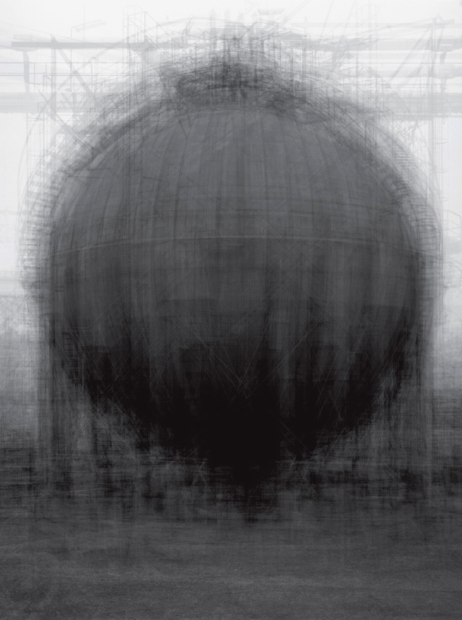 Idris Khan. 'Every ... Bernd and Hilla Becher Spherical Type Gasholder' One panel triptych, 2003