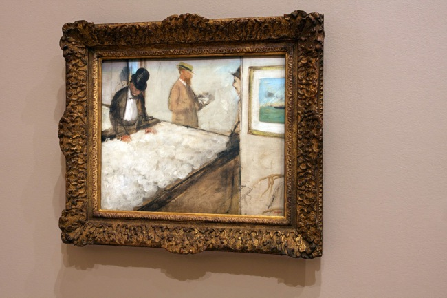 Installation view of Edgar Degas. 'Cotton merchants in New Orleans' 1873