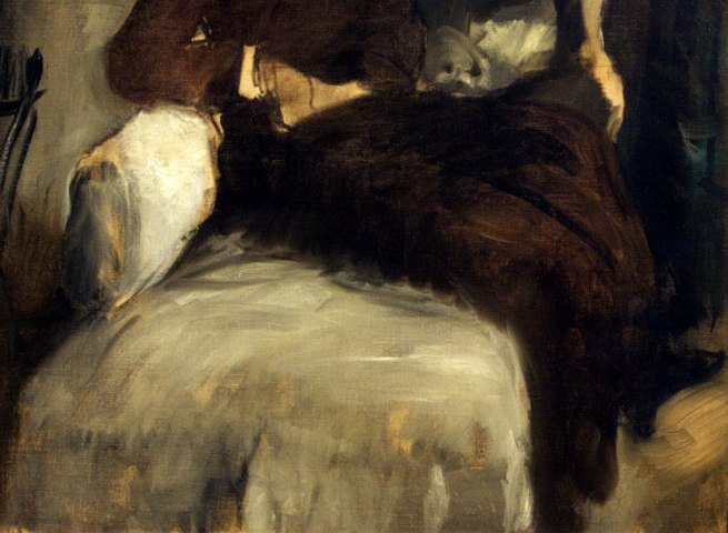 Edgar Degas. 'Mme Jeantaud sur sa chaise longue, avec deux chiens [Madame Jeantaud on her chaise longue, with two dogs]' 1877 (detail)