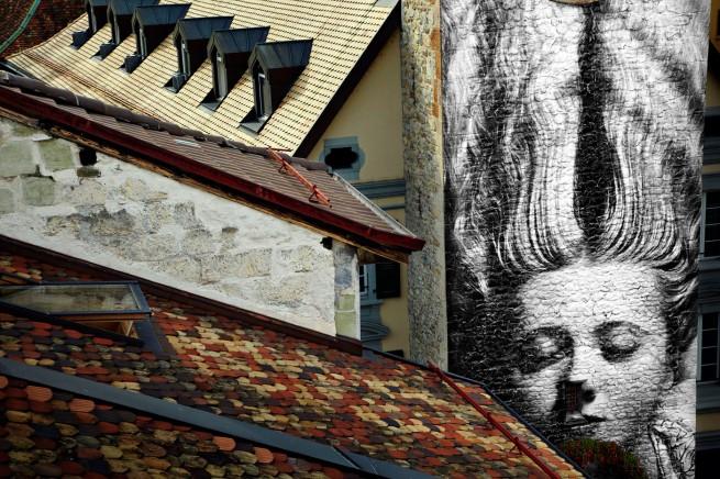 JR. 'UNFRAMED, Man Ray revu par JR, Femme aux cheveux longs, 1929, Vevey, Suisse' 2010