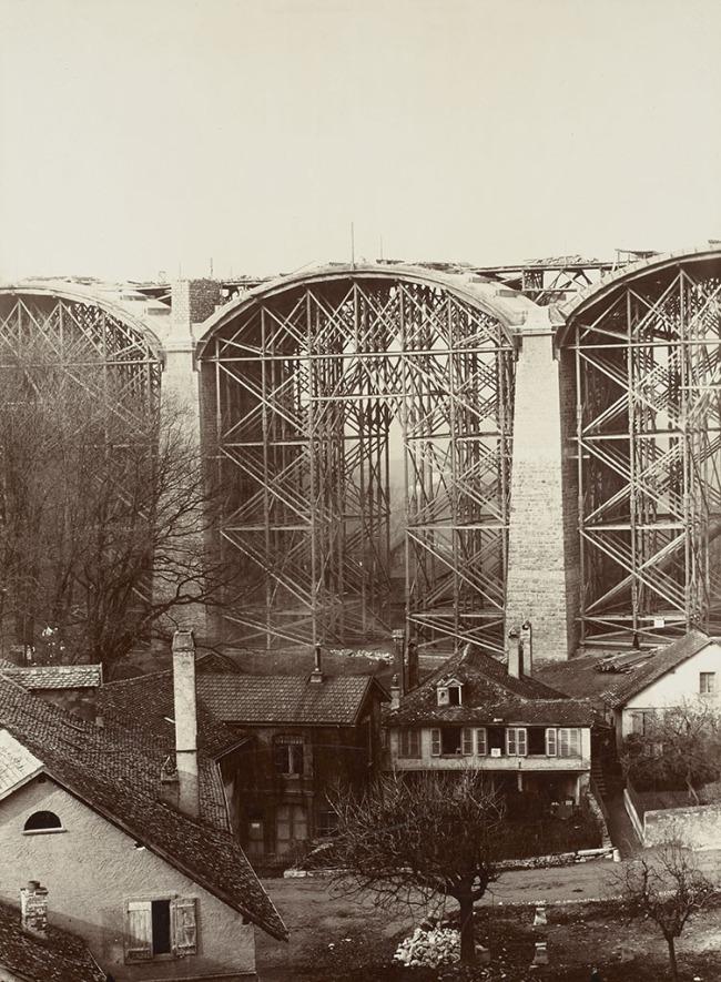 Paul Vionnet. 'Lausanne, le pont Chauderon en construction' 1904