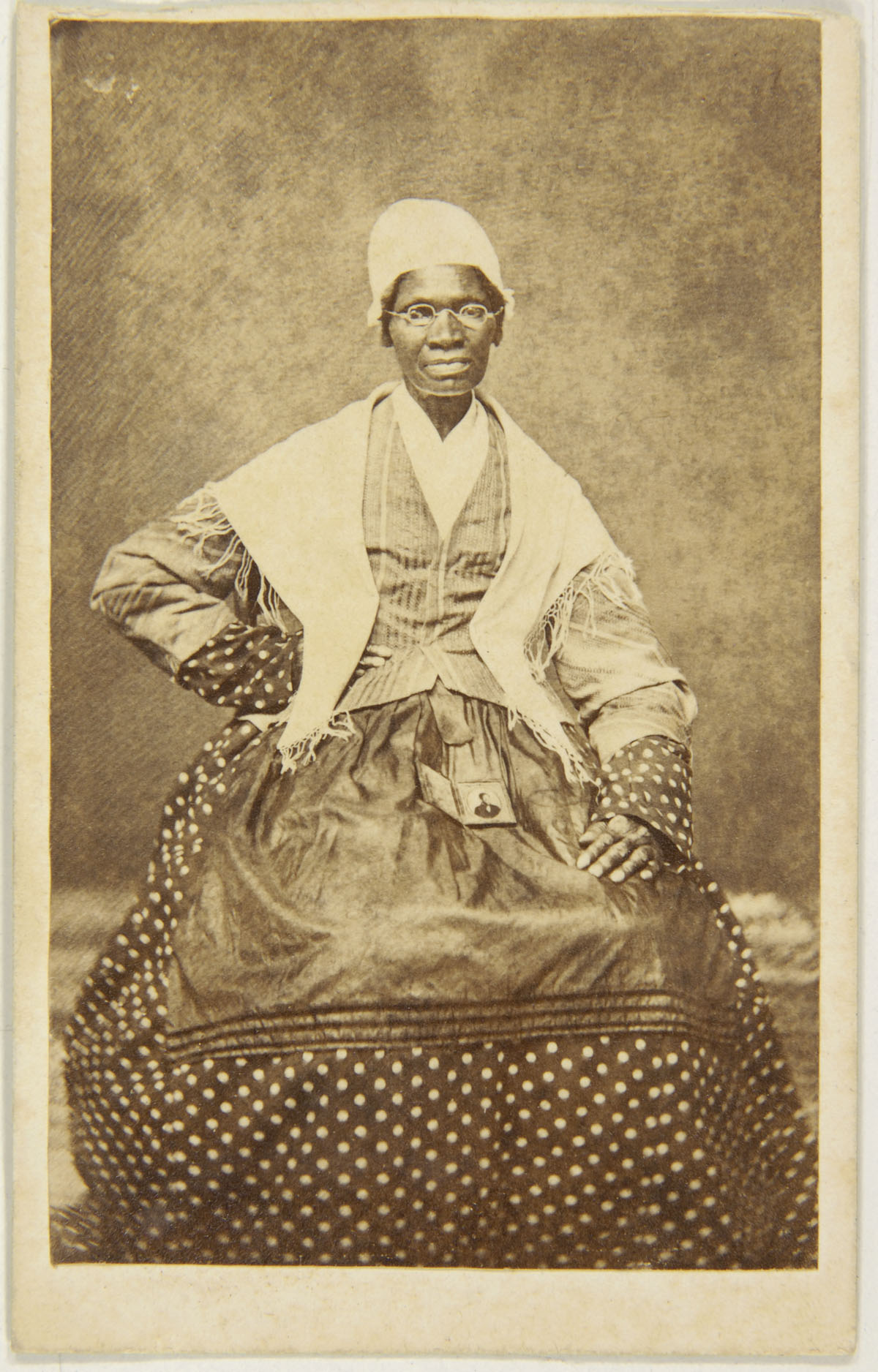 Carte De Visite Of Sojourner Truth With A Photograph Her Grandson