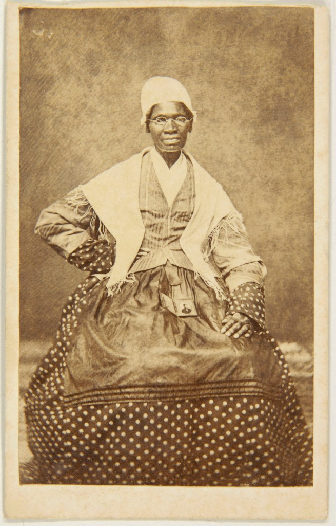 Unknown photographer. 'Carte de visite of Sojourner Truth with a photograph of her grandson, James Caldwell, on her lap' 1863