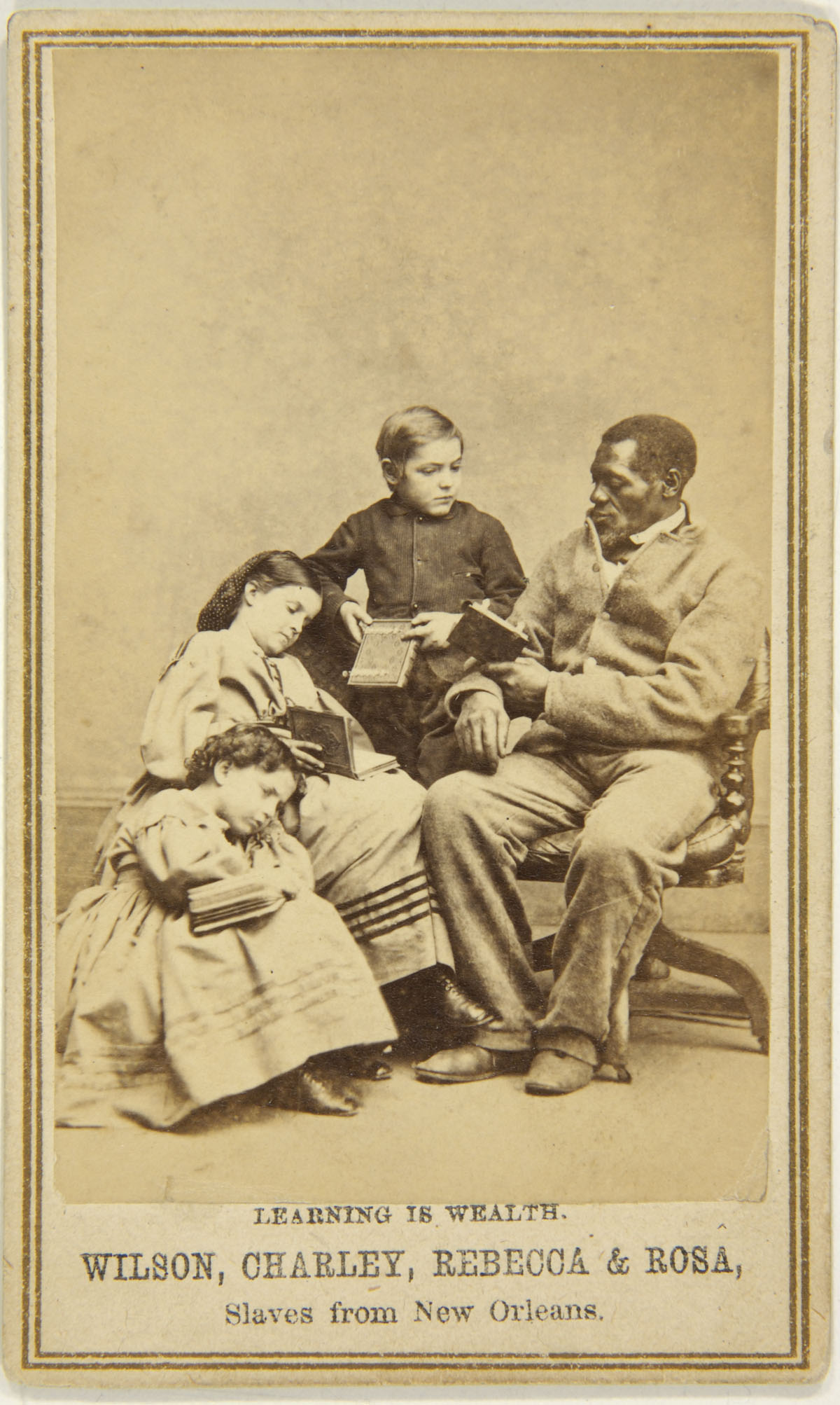 Unknown photographer (American) 'Captioned carte de visite (Learning is  Wealth. Wilson