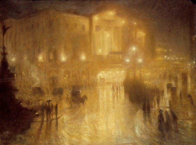 Arthur Hacker (1858-1919) 'A Wet Night at Piccadilly Circus' 1910