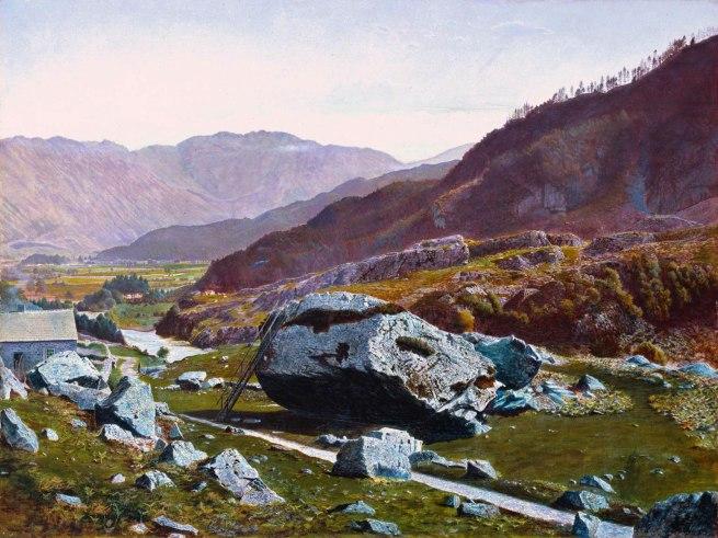 Atkinson Grimshaw. 'Bowder Stone, Borrowdale' c. 1863-8