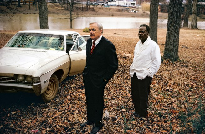 William Eggleston. 'Untitled' (the artist's uncle, Adyn Schuyler Senior, with assistant Jasper Staples, in Cassidy Bayou, Sumner, Mississippi) 1969-70