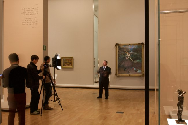 Curator Dr Ted Gott talking to the media