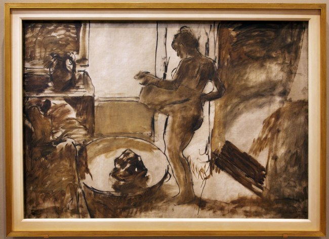 Edgar Degas. 'Femme au Tub [Nude woman drying herself]' c. 1884-86 (installation view)
