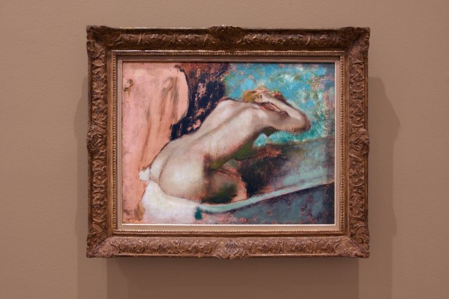 Edgar Degas. 'Woman seated on the edge of the bath sponging her neck' 1880-95 (installation view)