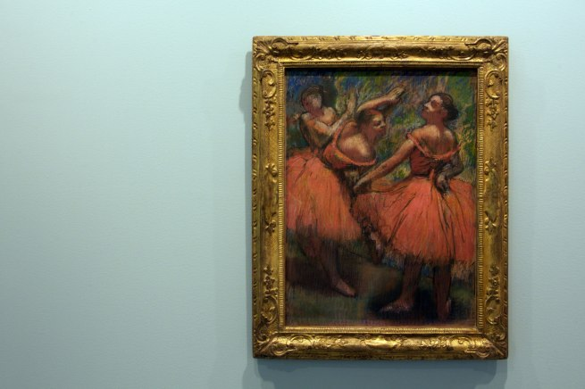 Edgar Degas. 'Group of dancers (red skirts)' 1895-1900 (installation view)