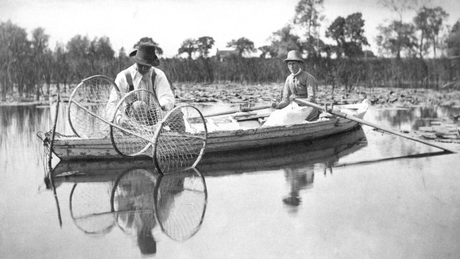 Thomas Frederick Goodall (1856-1944) and Peter Henry Emerson (1856-1936) 'Setting the Bow-Net, in Life and Landscape on the Norfolk Broads' 1885, published 1887
