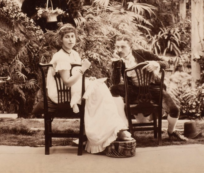 "Unknown photographer. 'H.R.H. Princess Alexandra, H.R.H. Princess Victoria & Mr. Savile, ""Two's company and three's none"" in Tableaux Vivants Devonport' c. 1892-1893 (detail)"