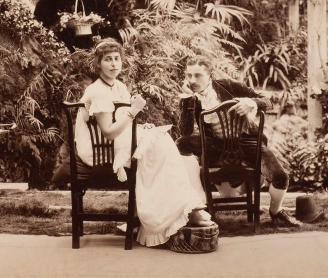 "Unknown photographer. 'H.R.H. Princess Alexandra, H.R.H. Princess Victoria & Mr. Savile, ""Two's company and three's none"" in Tableaux Vivants Devonport' c. 1892-1893 (detail)"