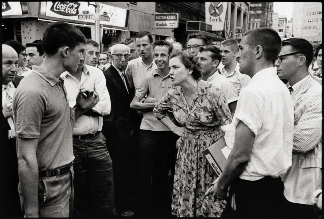 Danny Lyon. 'Woman Holds Off a Mob, Atlanta' 1963