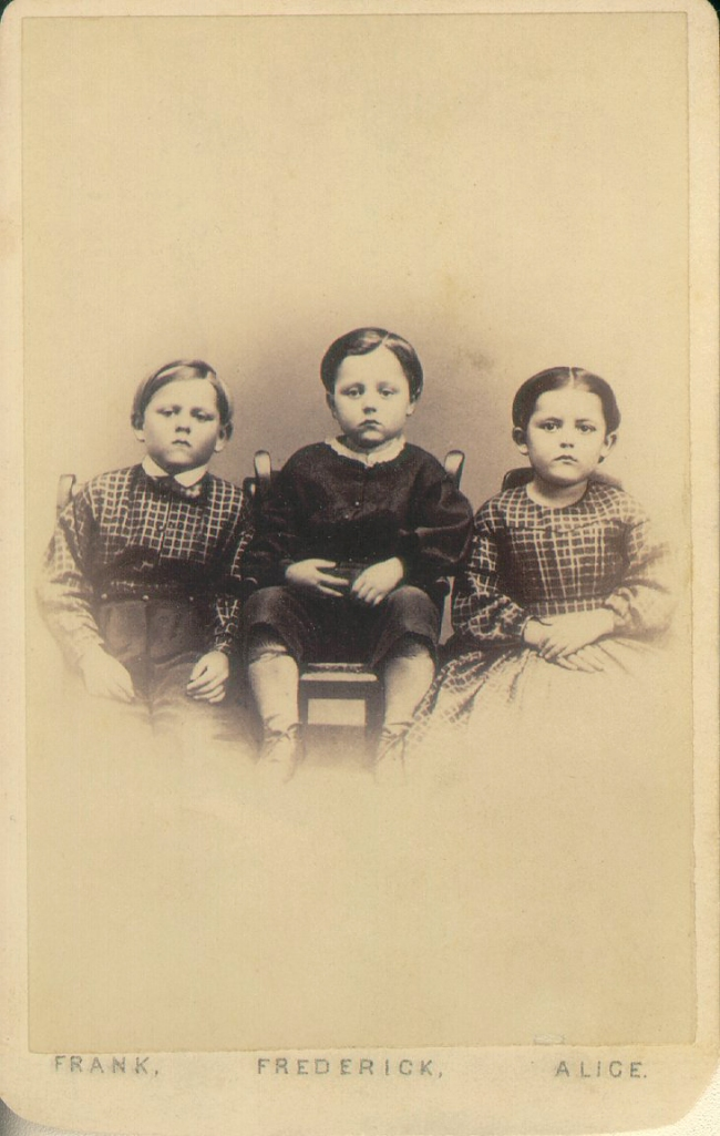 Unknown photographer (American) 'Captioned carte de visite of Frank, Frederick, and Alice' 1865