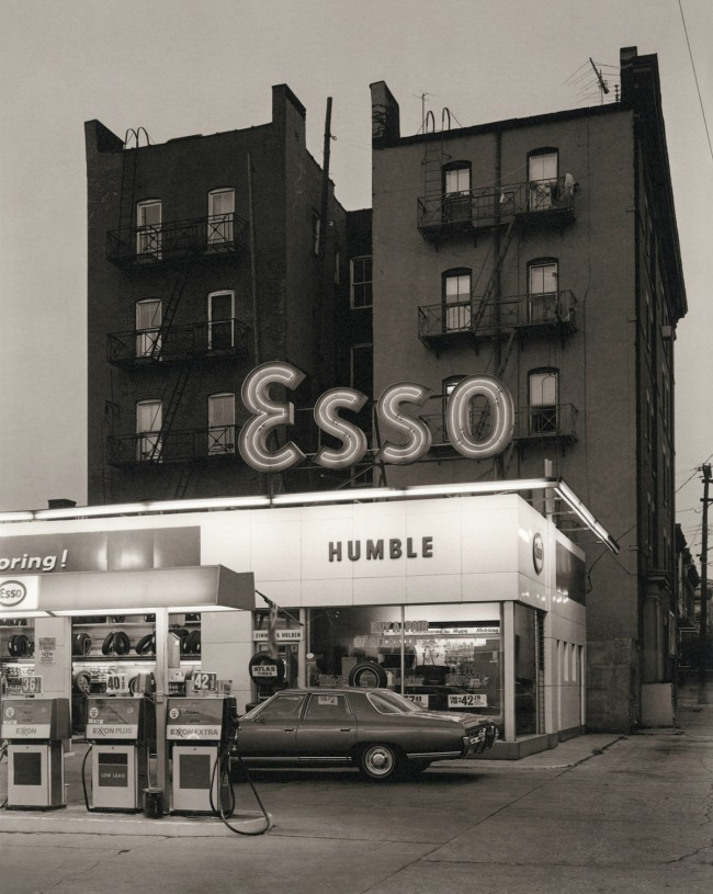 George Tice. 'Esso Station and Tenement House, Hoboken, NJ, 1972' 1972