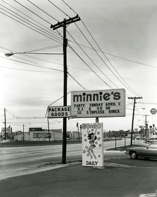 George Tice. 'Minnie's Go-Go, Route 130, Merchantville, 1975' 1975