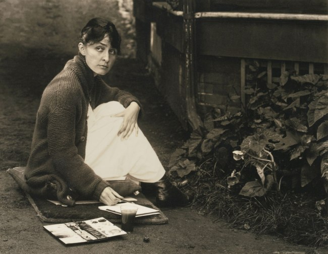 Alfred Stieglitz (1864-1946) 'Untitled [O'Keeffe with sketchpad and watercolors]' 1918