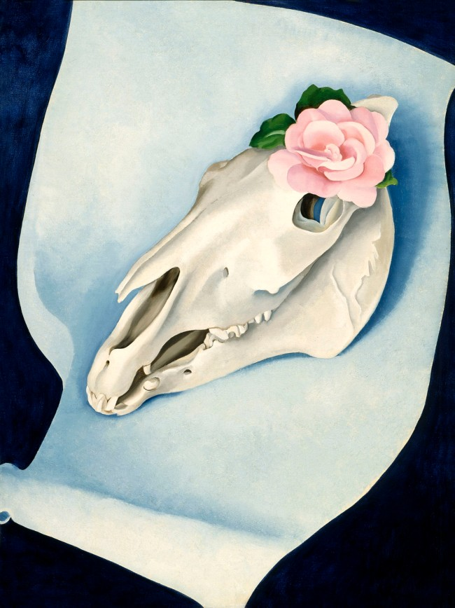 Georgia O'Keeffe (1887-1986) 'Horse's Skull with Pink Rose' 1931