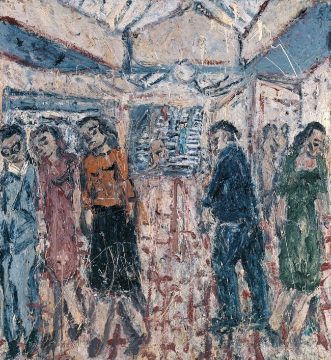 Leon Kossoff (born 1926) 'Booking Hall, Kilburn Underground' 1987