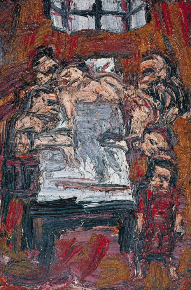 Leon Kossoff (born 1926) 'Woman III in Bed, Surrounded by Family' 1965