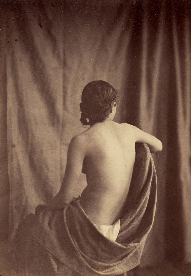 Jean-Louis-Marie-Eugène Durieu (French, 1800-1874) Possibly with Eugène Delacroix (French, 1798-1863) 'Draped Model' c. 1854