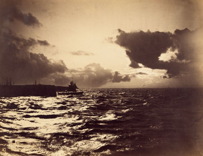 Gustave Le Gray (French, 1820-1884) 'Seascape with a Ship Leaving Port' 1857