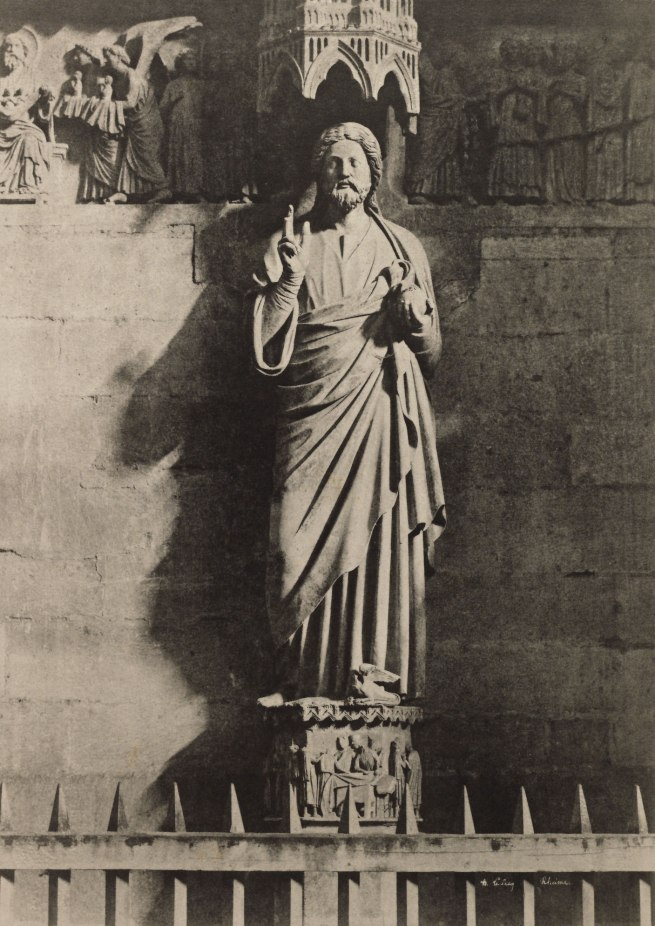 Henri Le Secq (French, 1818-1882) 'Statue of Christ at Reims Cathedral' Negative 1851; print 1870s
