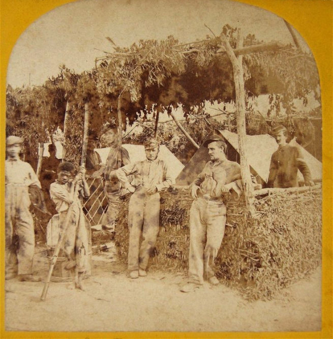 Unknown photographer (American) 'The Innocent Cause of the War' (stereo view detail) c. 1865