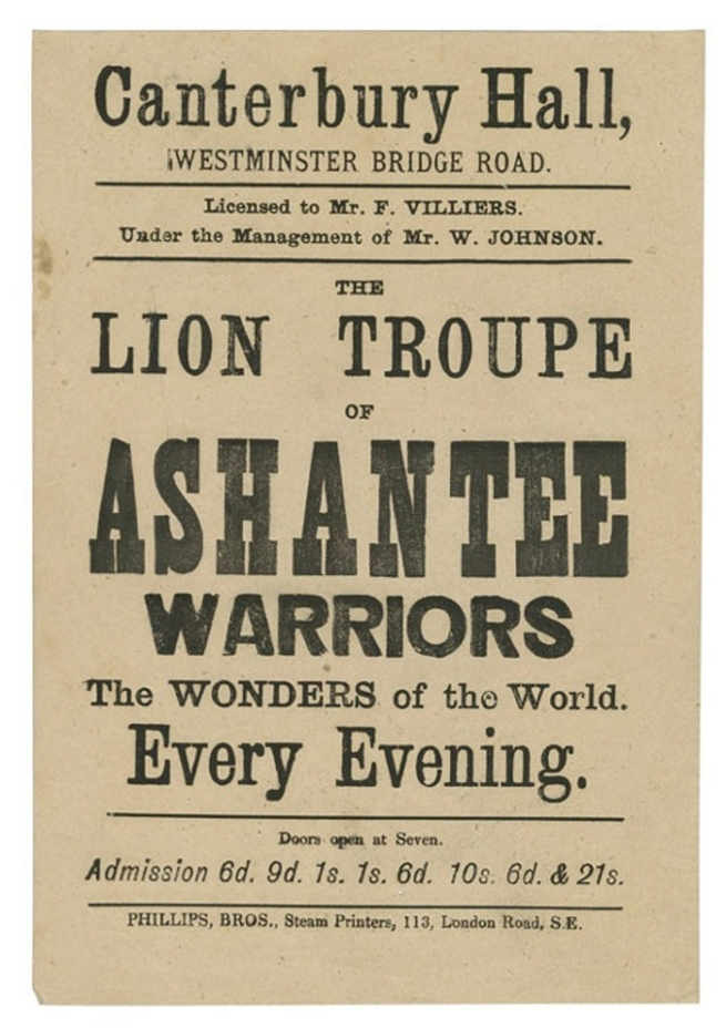Advert for the Lion Troupe of Ashante Warriors, the Wonders of the World, c. 1890