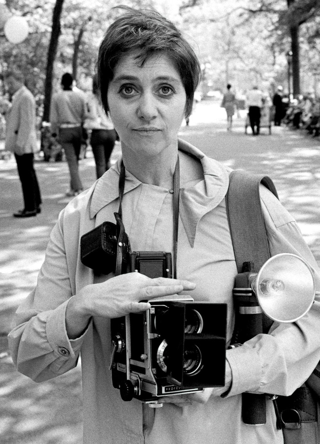Diane Arbus in Central Park with her Mamiya Camera in 1967