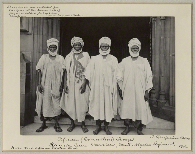 Sir (John) Benjamin Stone. 'Four Hausa Gun Carriers of the South Nigerian Regiment' 1902
