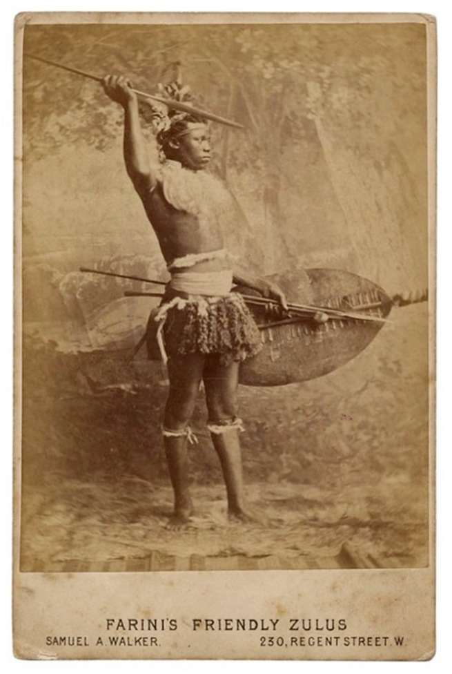 This man was brought to Britain with a Zulu troupe during the Anglo-Zulu War of 1879 and was part of explorer Guillermo Antonio Farini's exhibition of 'Friendly Zulus' in London, 1879