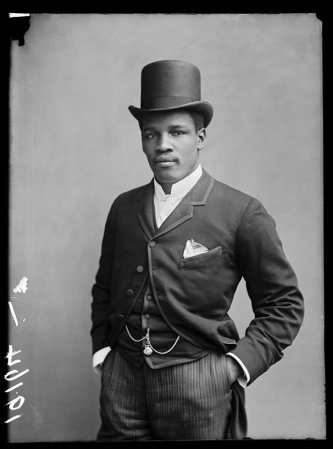London Stereoscopic Company. 'Champion Jamaican Boxer Peter Jackson' 1889